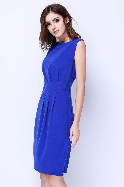 Elegant Sleeveless Ruched Business Dress