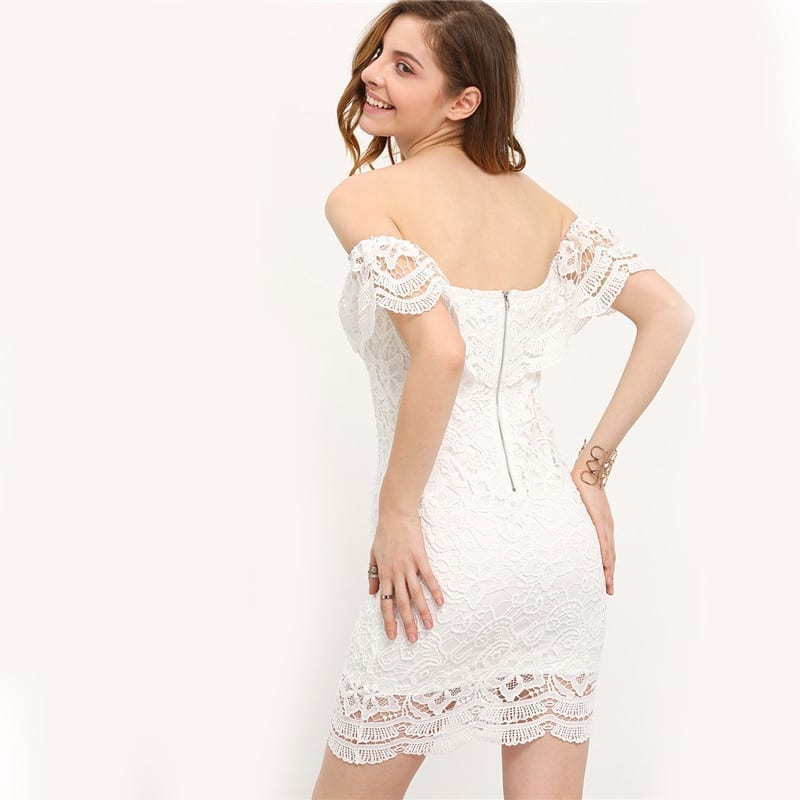 White Off The Shoulder Strapless Lace Ruffle Bodycon Dress