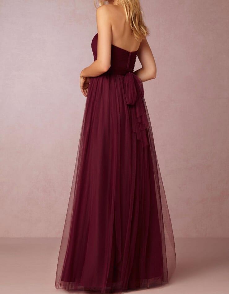 Burgundy Sweetheart Backless A-line Long Bridesmaid Dress