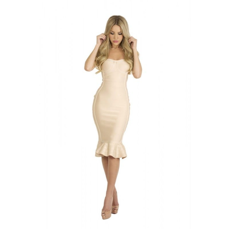Nude Black Strapless Bandage Dress With Fluted-hem