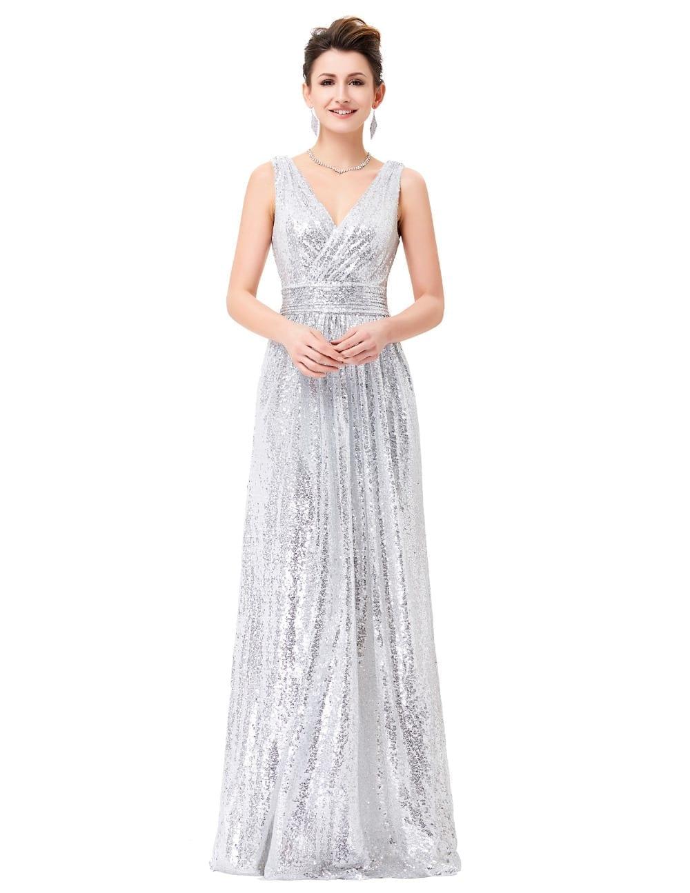 Elegant Double V-neck Long Sequin Bridesmaid Dress