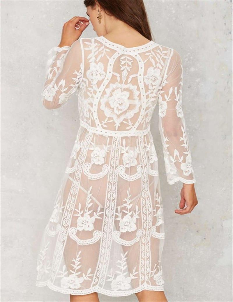 White Lace Long Sleeve Knee Length Loose Beach Dress
