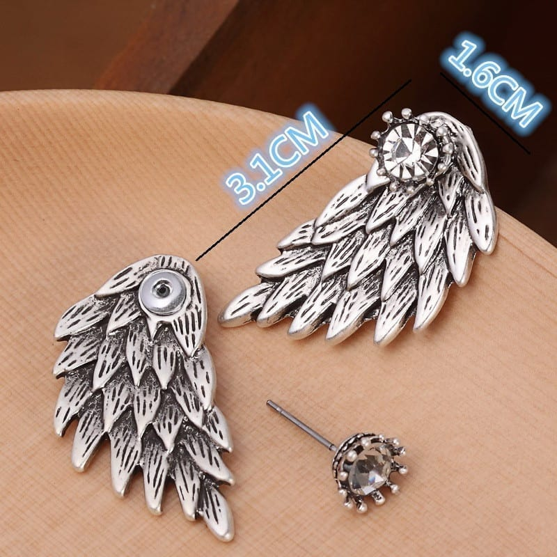 Black Gold Silver Plated Gothic Angel Wings Rhinestone Alloy Stud Earrings