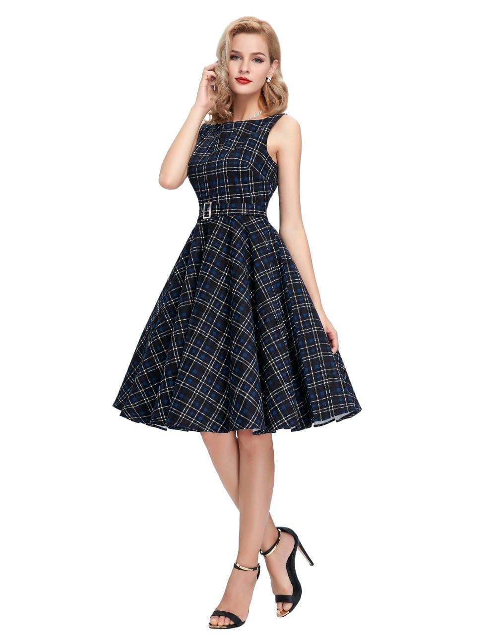Sleeveless Cotton Plaid Striped Swing Dress