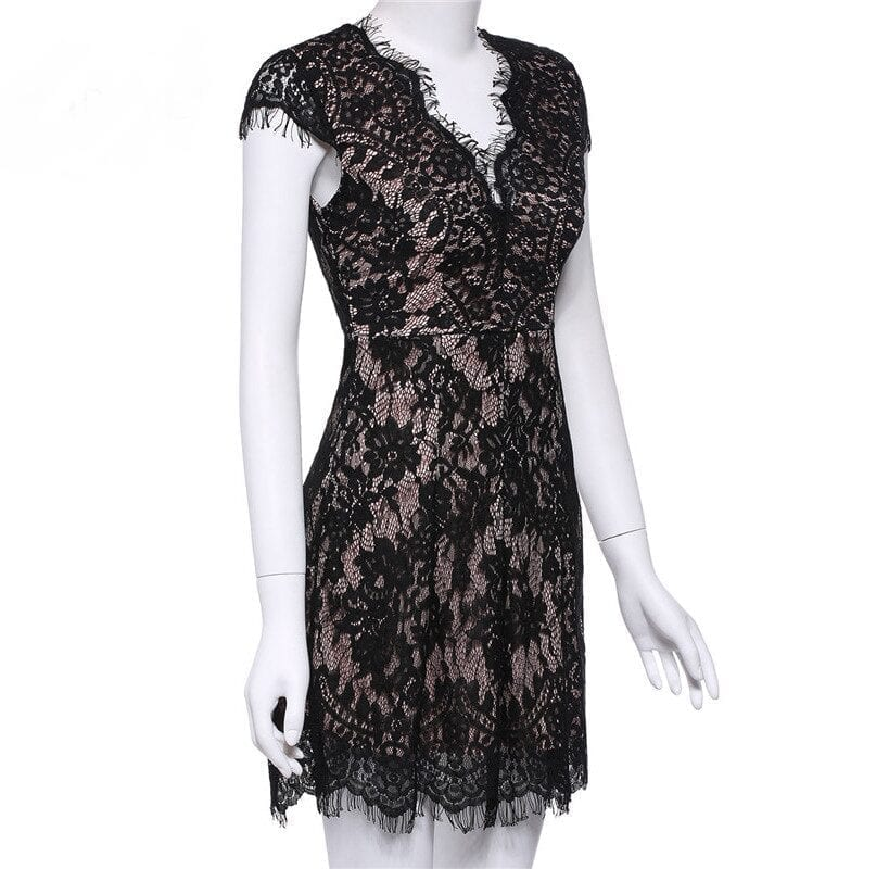 Black Bodycon Cap Sleeve Deep V-neck Elegant Lace Dress