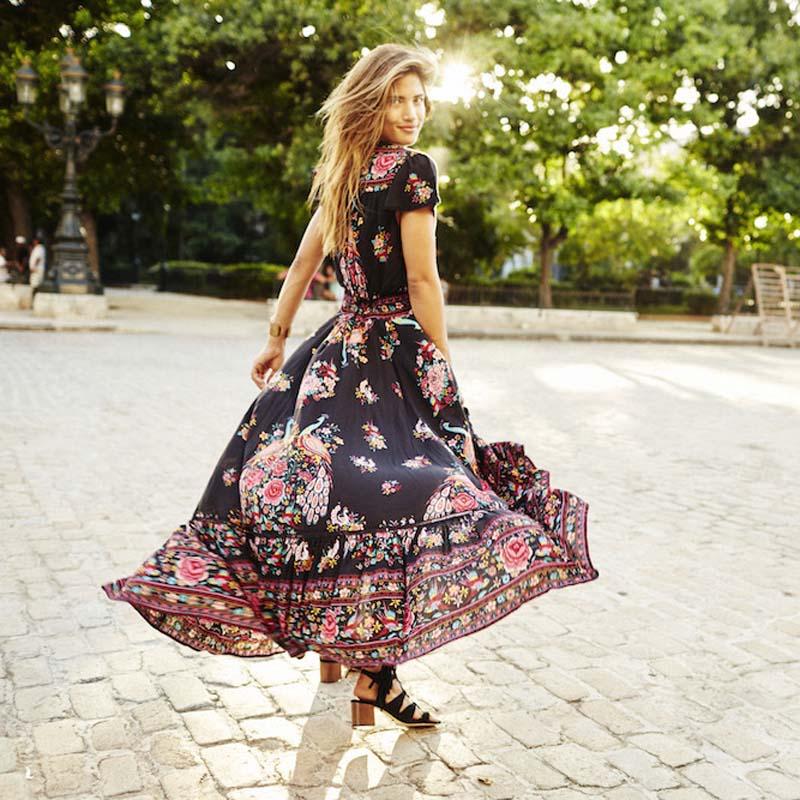 Ethnic Print Retro Vintage Hippie Boho Dress