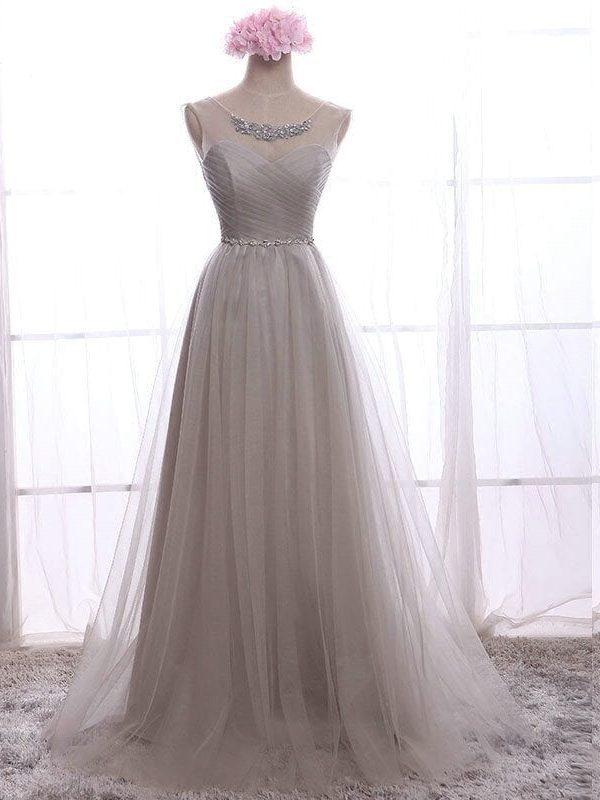 A-line Chiffon With Crystal Long Bridesmaid Dress