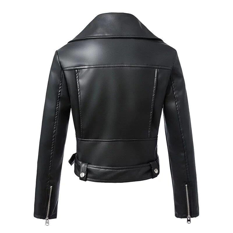 Black Zipper Long Sleeve Motorcycle Punk Faux Soft Leather Jacket Coat