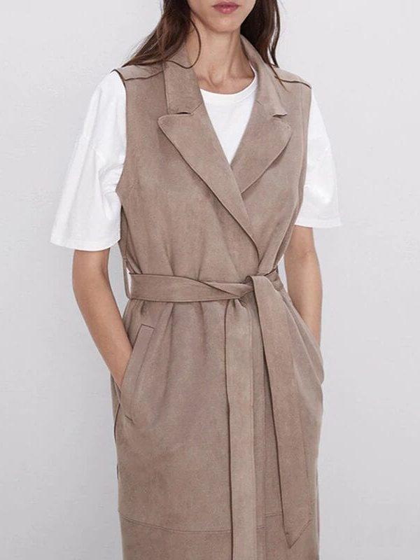 Suede Pockets Belt Long Wasitcoat