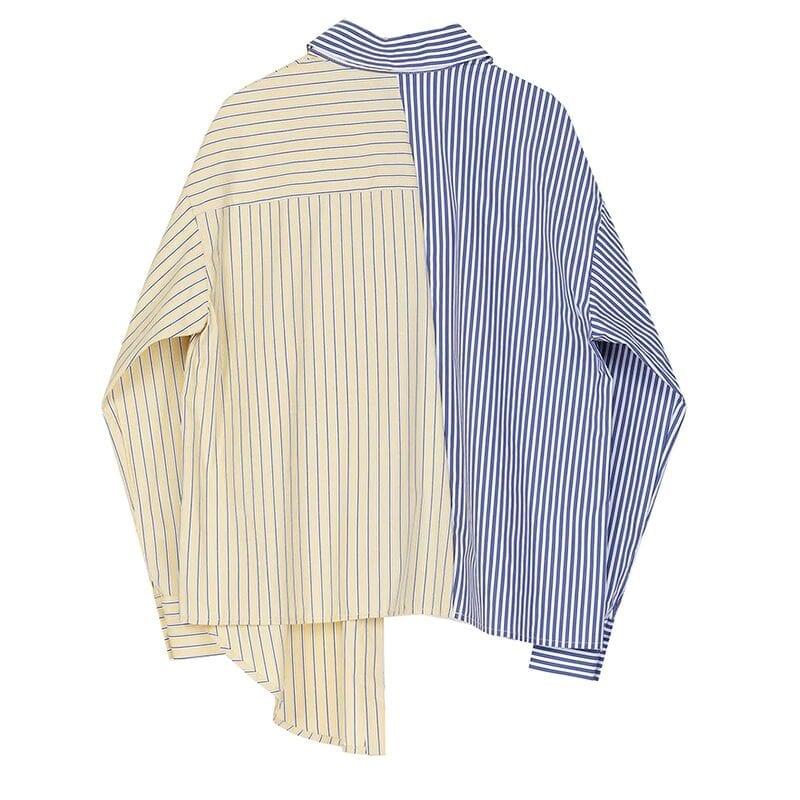 Blue Striped Lapel Long Sleeve Loose Fit Women Shirt Blouse