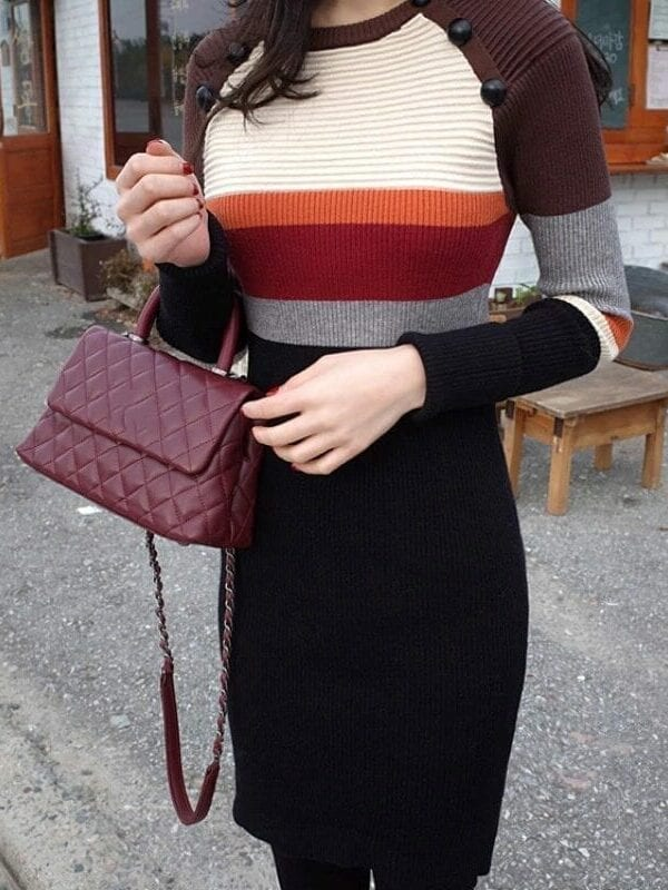 Vintage Striped Knitted Bodycon Dress