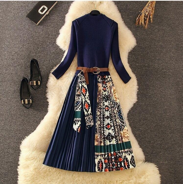 Elegant Knitted Patchwork Pleated Midi Dress