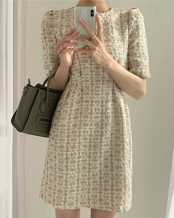 High Waist Casual Puff Sleeve Plaid Elegant Vintage Mini Dress