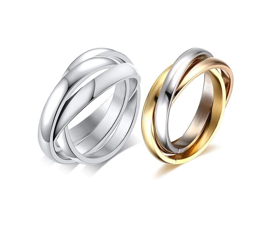 Three Layers Three Color Titanium Ring Size5-9