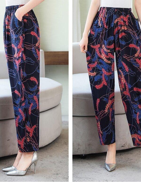Vintage Elastic Waist Print Floral Wide Leg Pants
