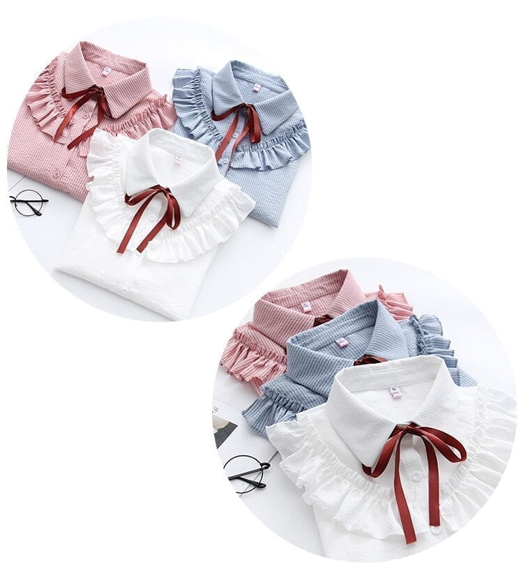Ruffles Striped Bow Flare Long Sleeve Chiffon Blouse Shirt