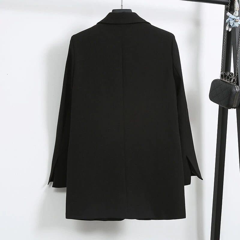 Elegant Black Single Button Women Blazer Jacket