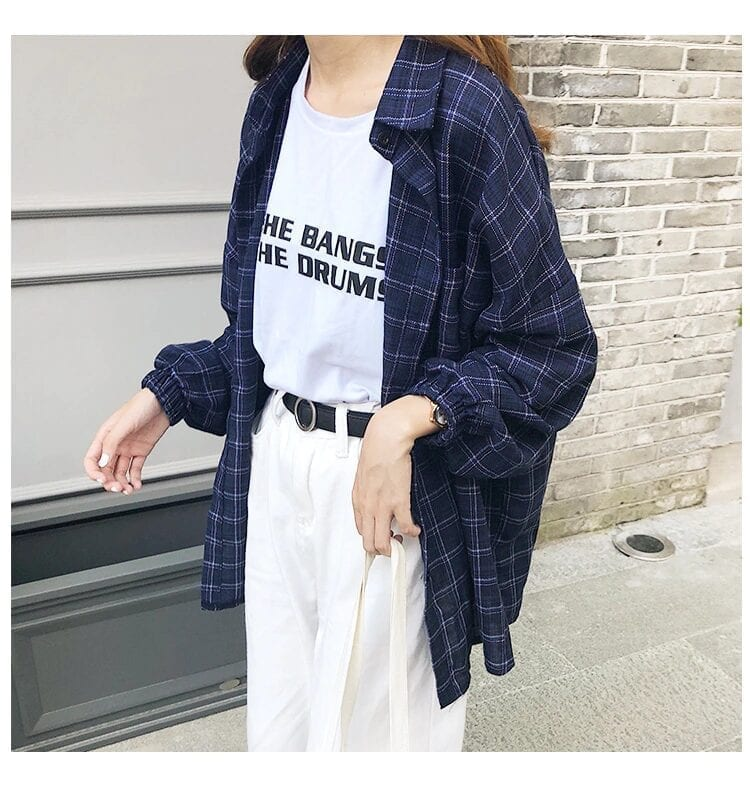Vintage pure cotton long sleeve plaid shirt