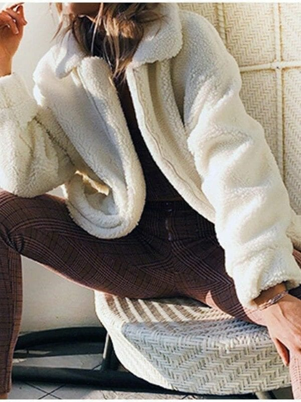 Elegant warm soft zipper fur coat jacket