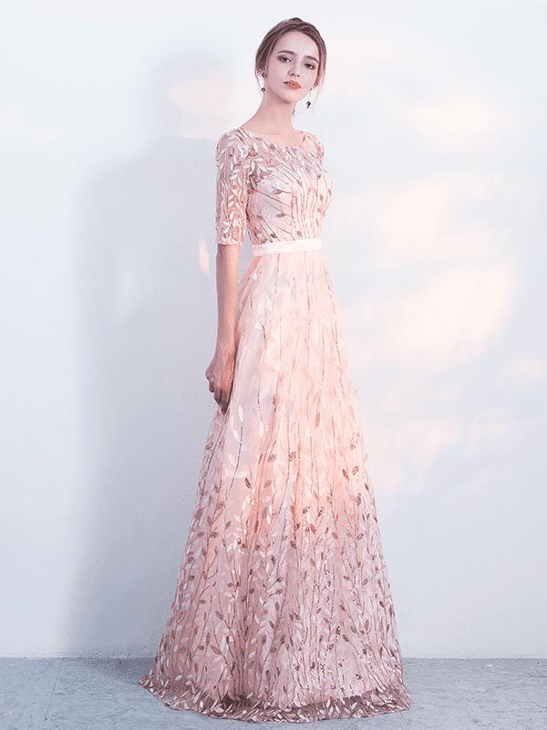 Elegant embroidery pink o-neck long half sleeve bridesmaid dress