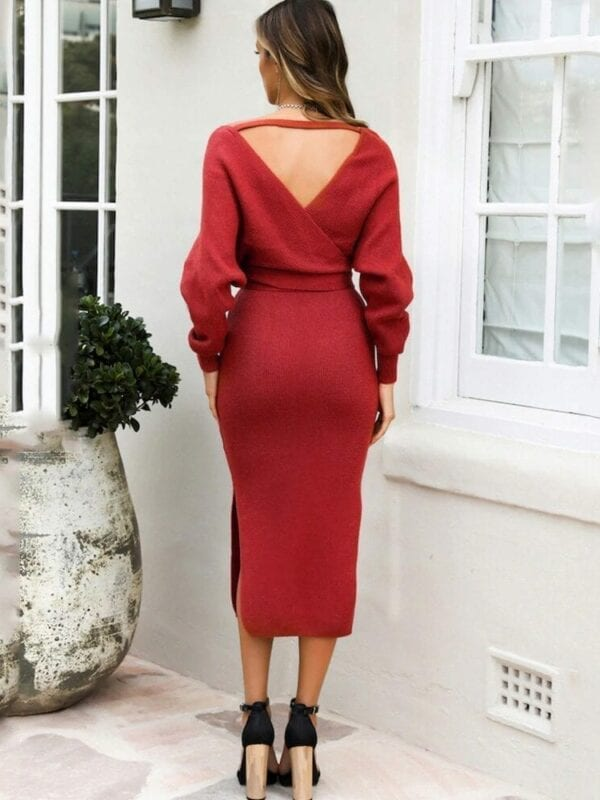 Long Sleeve V Neck With Cross Belt Sweater Knitted Dress