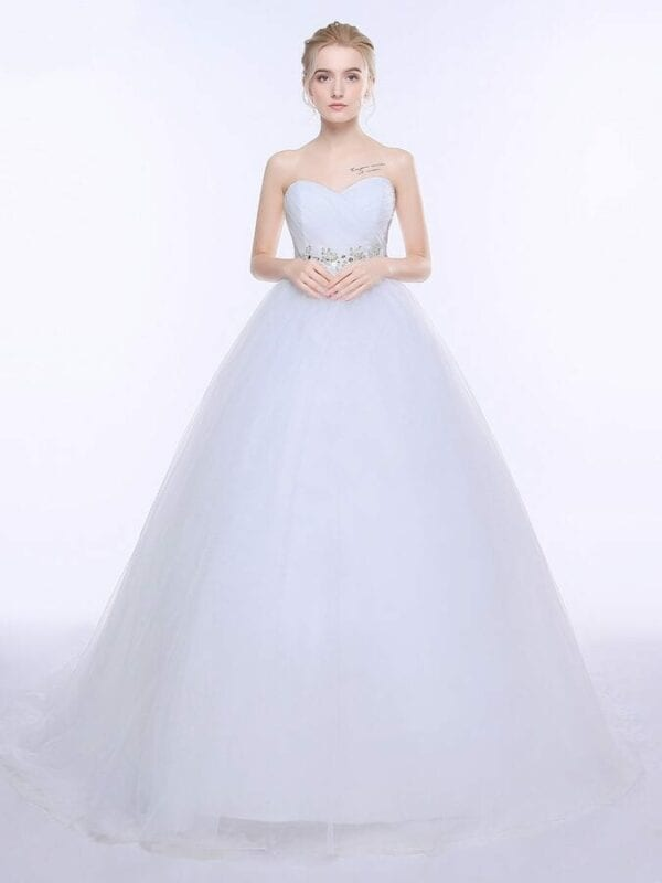 Sweetheart White Ivory Lace Tulle Wedding Dress