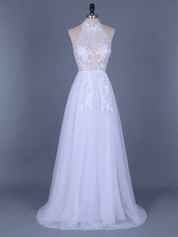 Vintage Boho Appliques Beading Tulle Wedding Dress