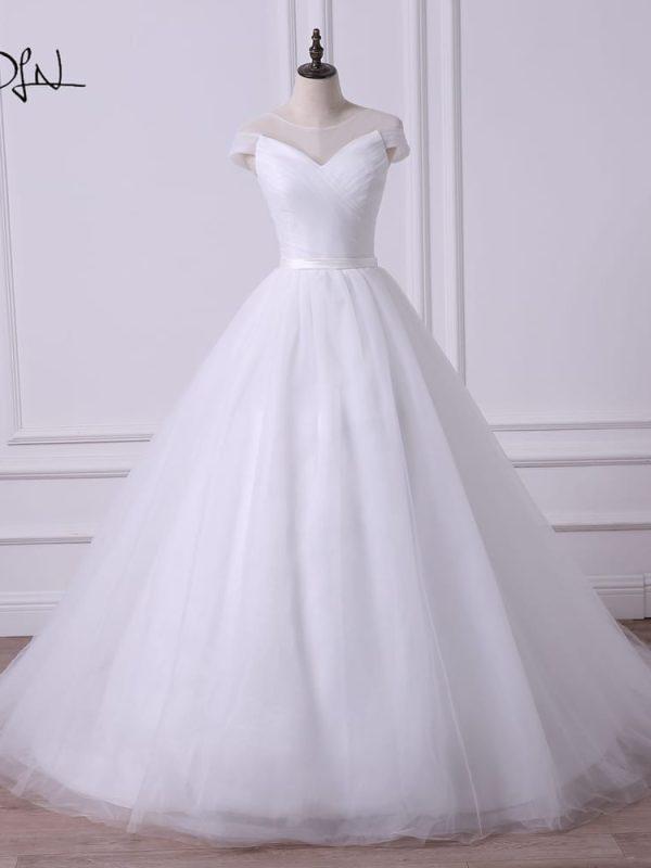 Cap Sleeve Princess A-line Tulle Wedding Dress