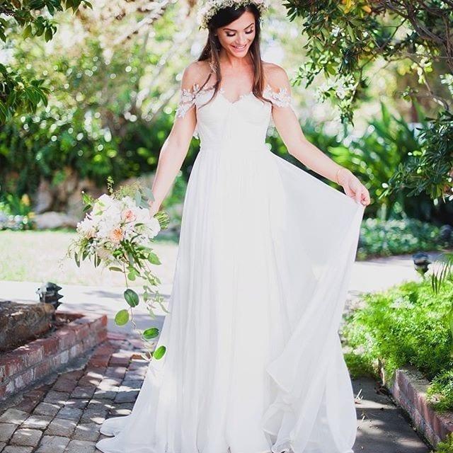 Off Shoulder Bohemian Pleat Appliques Chiffon Beach Wedding Dress