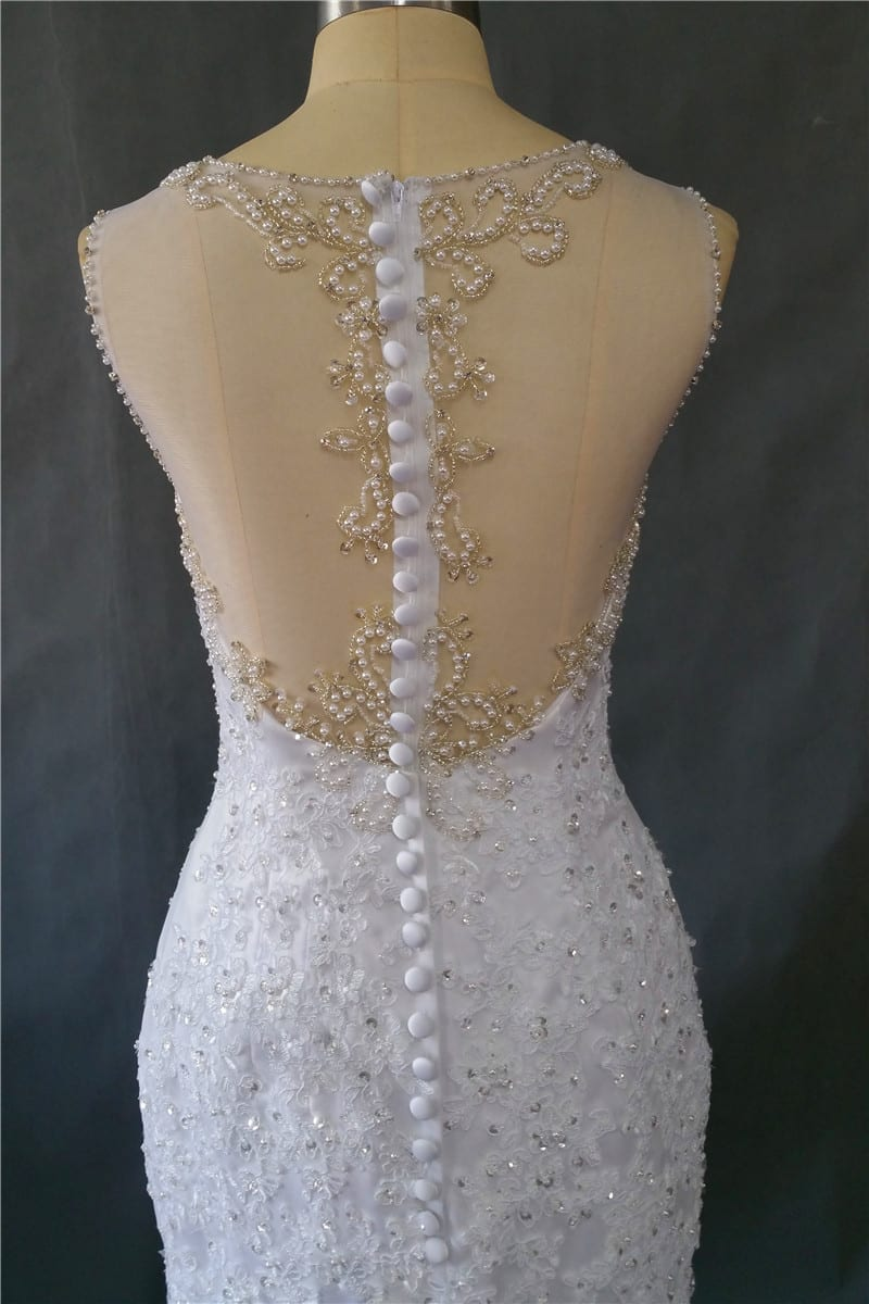 Vintage Lace Pearls Beading Mermaid Wedding Dress