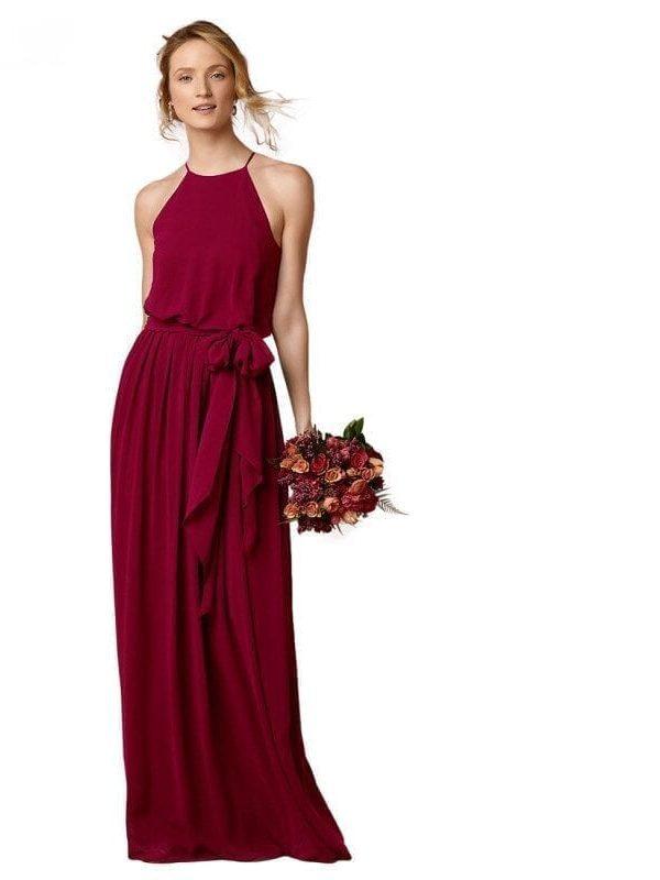 Elegant Halter Wine Red Floor Length Made Maid Of Honor Bridesmaid Dress