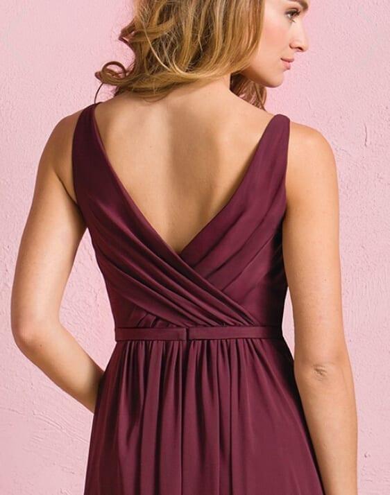 Elegant Side Slit Chiffon Long Navy Blue Burgundy Bridesmaid Dress