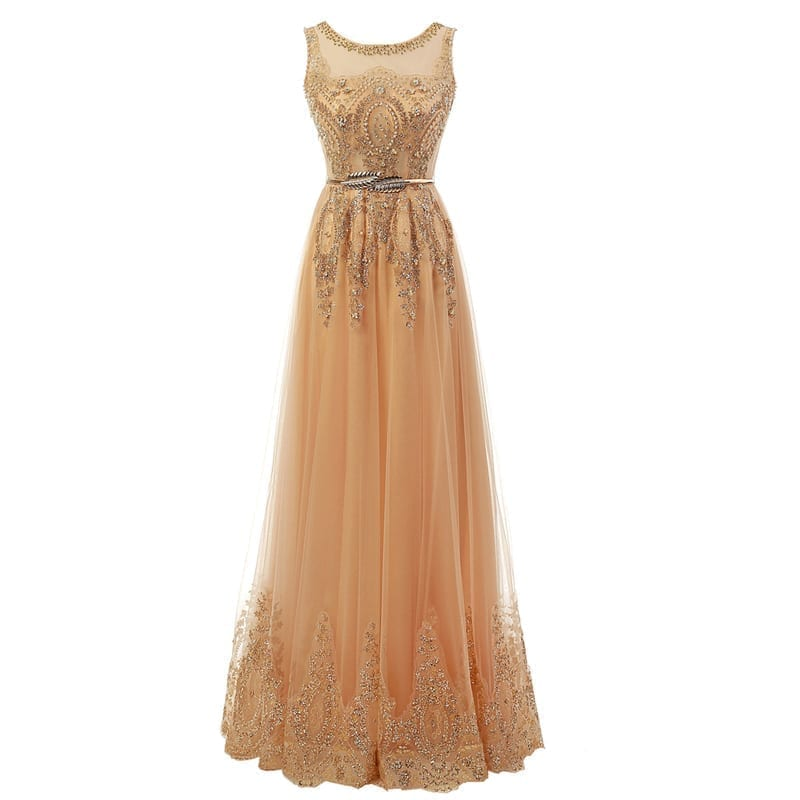 Champagne Long Elegant Appliques Beading Party Prom Dresses