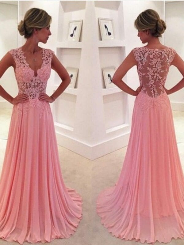 V-neck Long Pink Appliques Lace See Through Back Evening Party Prom Dress