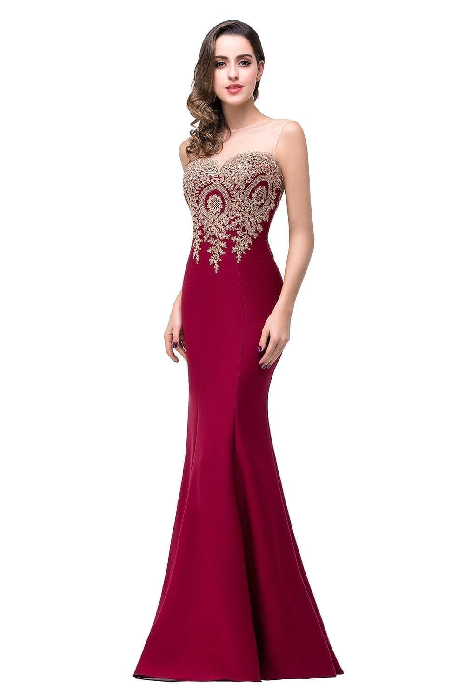 Long Appliques Backless Mermaid Lace Evening Bridesmaid Dress