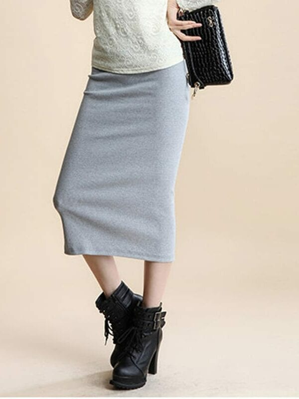 Pencil Office Look Natural Waist Mid-calf Solid Skirt