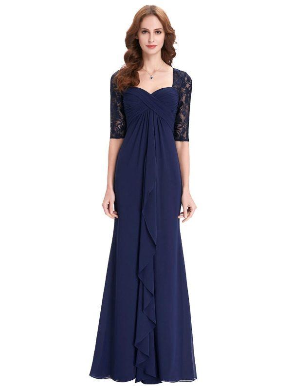 Navy Blue Half Sleeve Ruffles Chiffon Long Evening Mother Of The Bride Dress