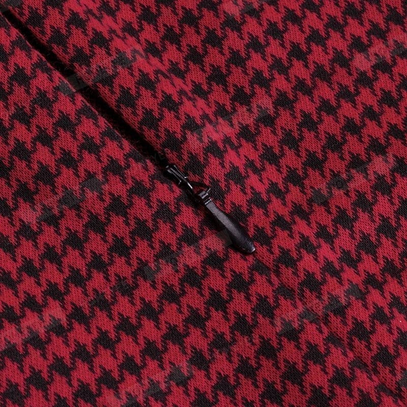 Vintage Long Sleeve Patchwork Office Plaid Pattern Bodycon Pencil Dress
