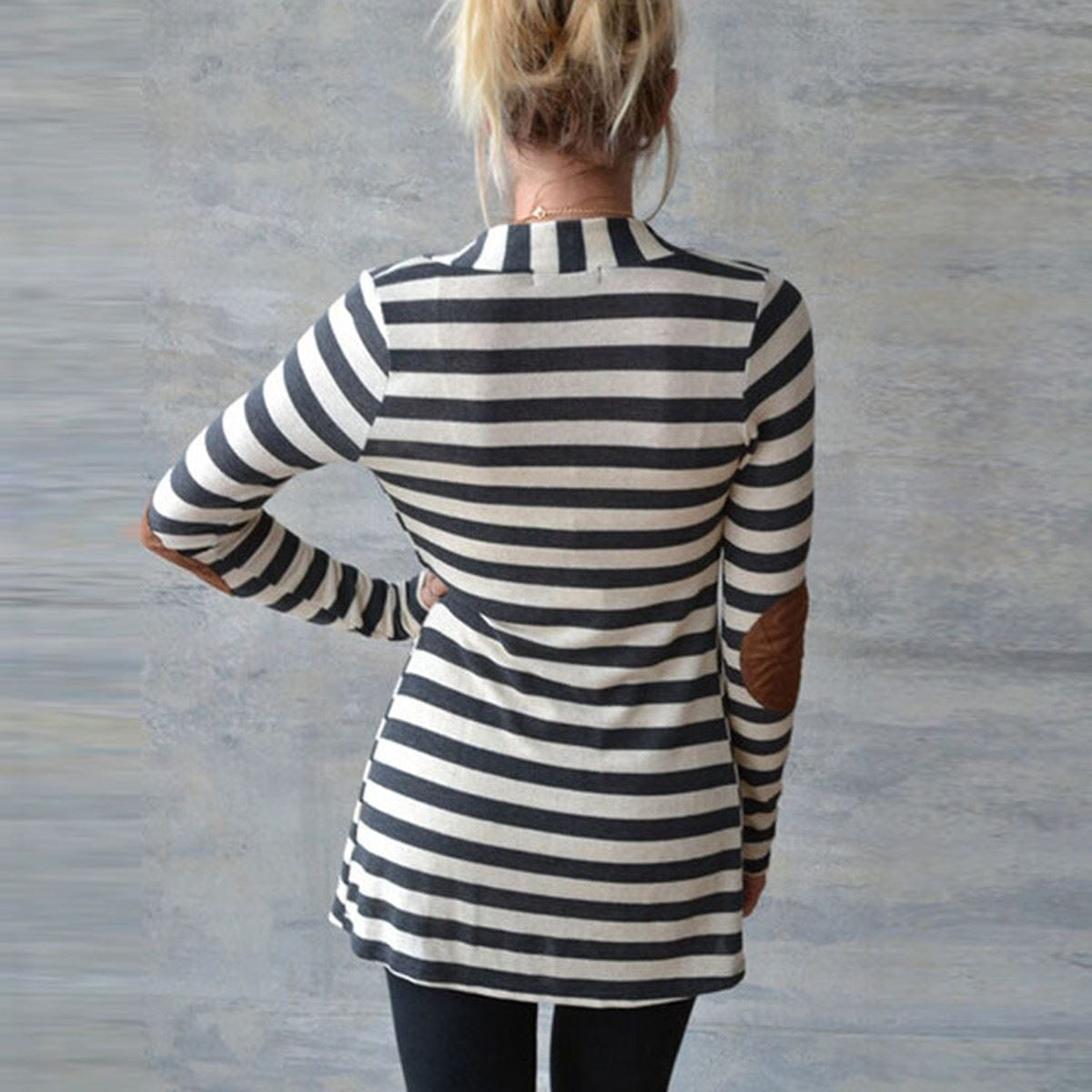 Long Sleeve Striped Printed Elbow Patchwork Knitted Sweater Cardigan