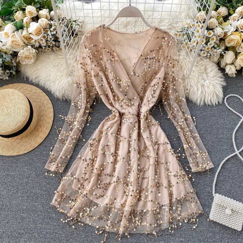 V-neck Vintage Long Sleeve Sequin Beach Party Short Dress