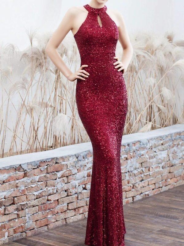 Elegant Sequined Halter Sleeveless Mermaid Long Evening Dress