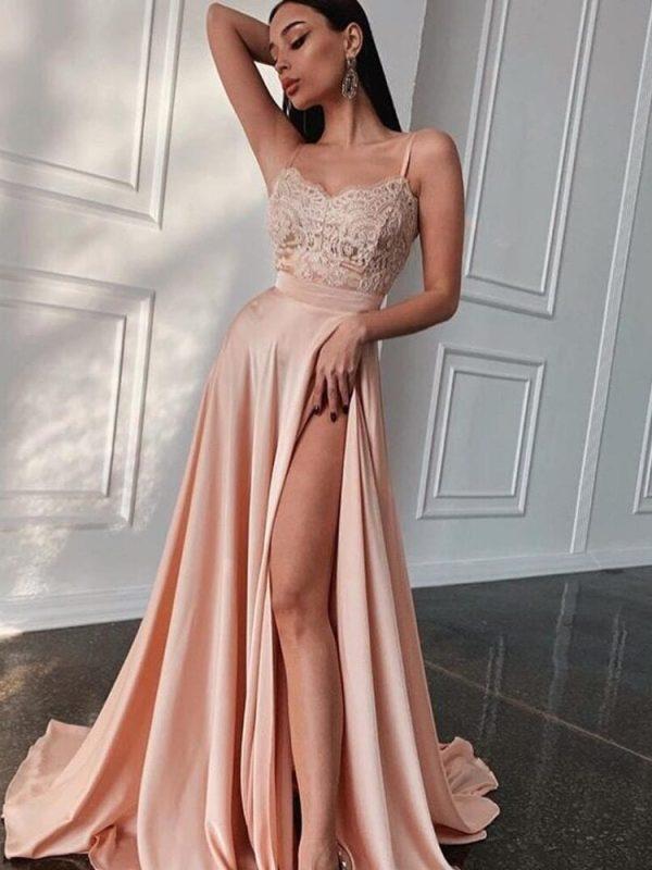 Elegant Spaghetti Straps Slit Formal Evening Dress
