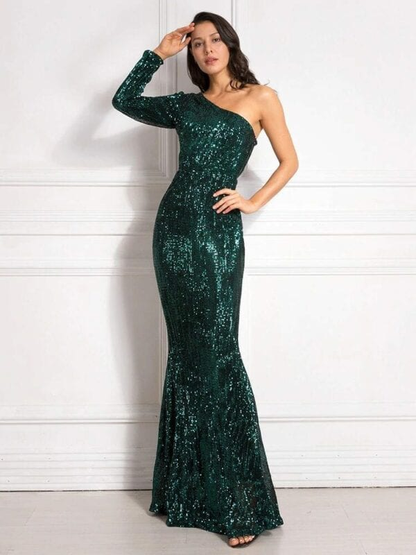 One Shoulder Stretchy Backless Sequin Long Bridesmaid Dress