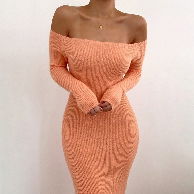 Off Shoulder Ribbed Knitted Long Sleeve Bodycon Midi Dress