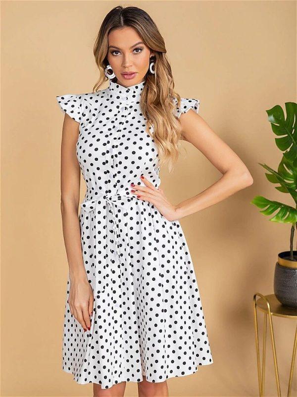 Vintage Ruffles Stand Collar Polka Dot Print Single Breasted Sashes A Line Retro Dress