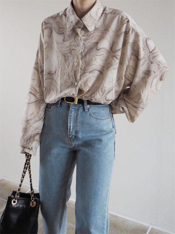 Vintage Loose Turn-down Collar Full Sleeve Women Blouse Top Shirt