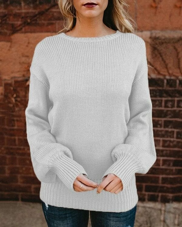 Sweet Backless Bowknot Lantern Long Sleeve Pullover Sweater