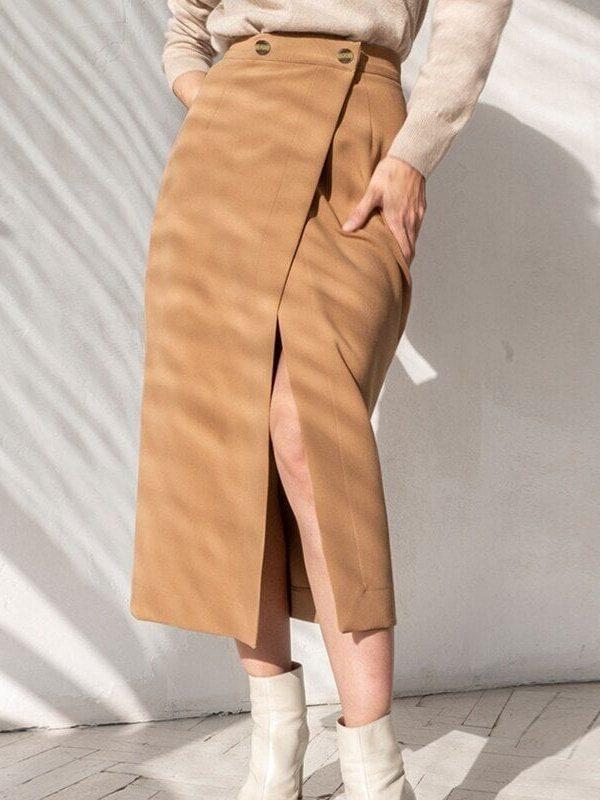 Elegant High Waist Front Split Midi Skirt