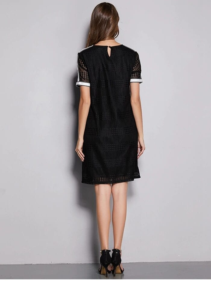 Black Loose Straight Above Knee Half Sleeves O-neck Solid Lace Dress