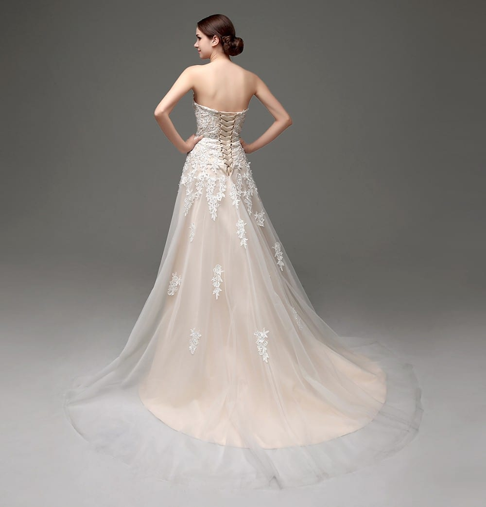 Romantic Off The Shoulder Lace Tulle Crystals Pearls Sash Wedding Dress